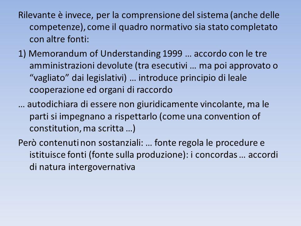 Rilevante è invece, per la comprensione del sistema (anche delle competenze), come il quadro normativo sia stato completato con altre fonti: 1) Memora