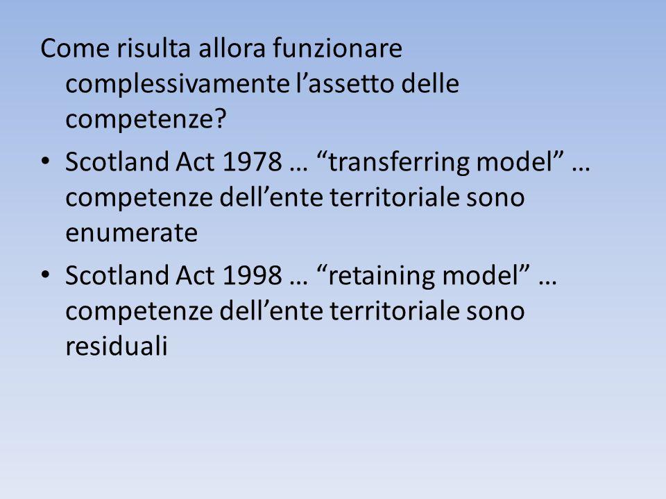Come risulta allora funzionare complessivamente lassetto delle competenze? Scotland Act 1978 … transferring model … competenze dellente territoriale s