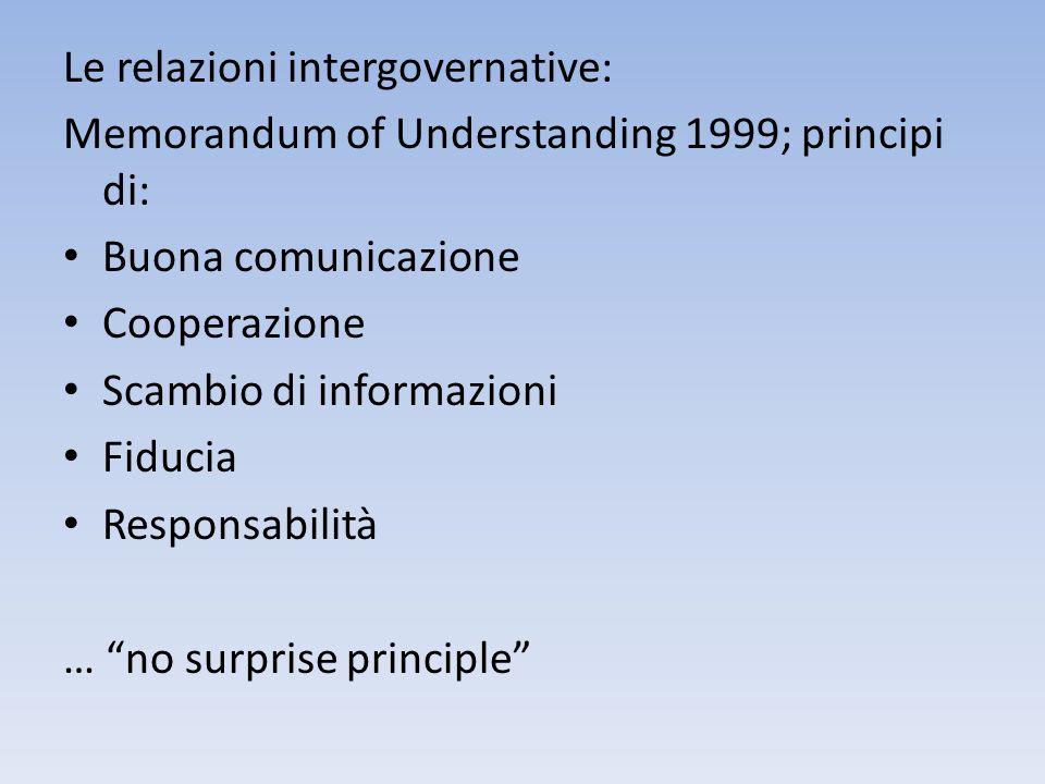Le relazioni intergovernative: Memorandum of Understanding 1999; principi di: Buona comunicazione Cooperazione Scambio di informazioni Fiducia Respons