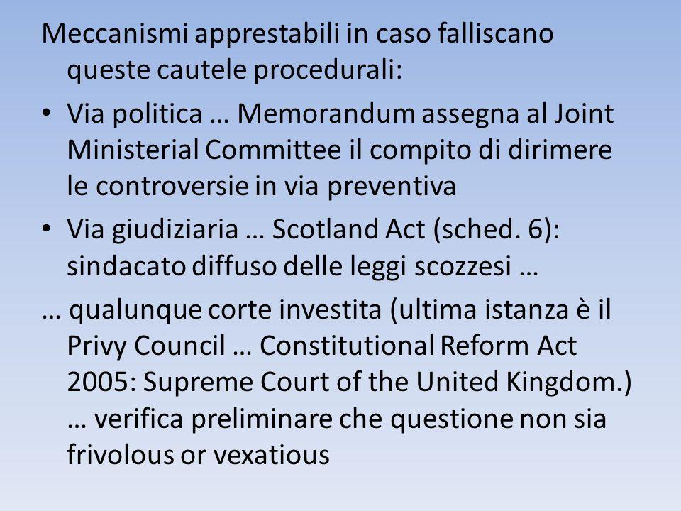 Meccanismi apprestabili in caso falliscano queste cautele procedurali: Via politica … Memorandum assegna al Joint Ministerial Committee il compito di
