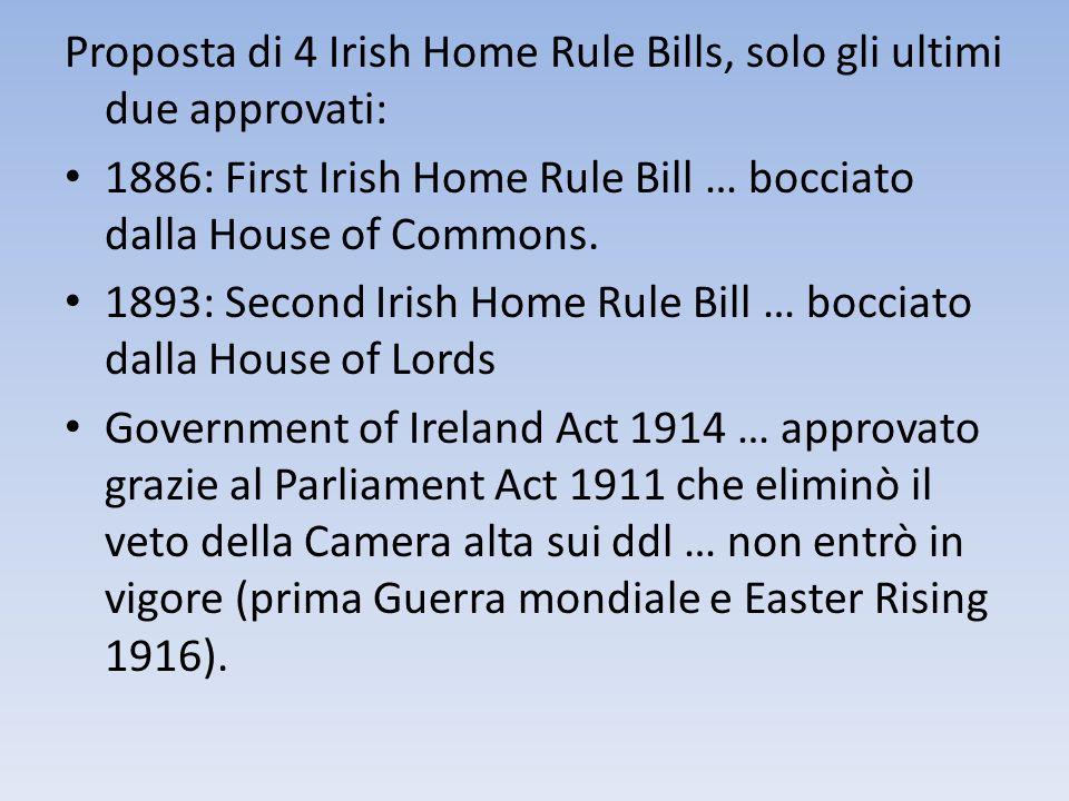 Proposta di 4 Irish Home Rule Bills, solo gli ultimi due approvati: 1886: First Irish Home Rule Bill … bocciato dalla House of Commons. 1893: Second I