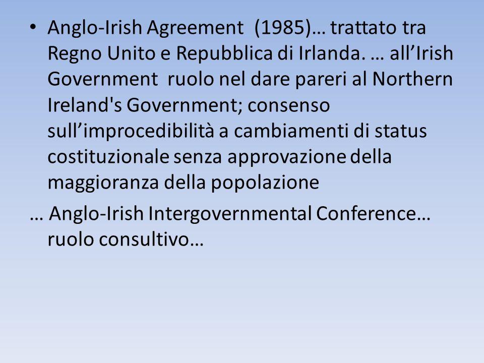 Anglo-Irish Agreement (1985)… trattato tra Regno Unito e Repubblica di Irlanda. … allIrish Government ruolo nel dare pareri al Northern Ireland's Gove