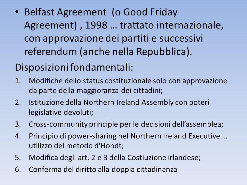 Belfast Agreement (o Good Friday Agreement), 1998 … trattato internazionale, con approvazione dei partiti e successivi referendum (anche nella Repubbl