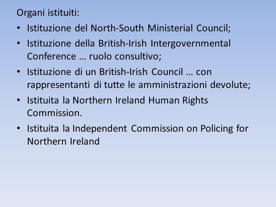 Organi istituiti: Istituzione del North-South Ministerial Council; Istituzione della British-Irish Intergovernmental Conference … ruolo consultivo; Is