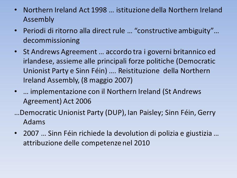Northern Ireland Act 1998 … istituzione della Northern Ireland Assembly Periodi di ritorno alla direct rule … constructive ambiguity… decommissioning