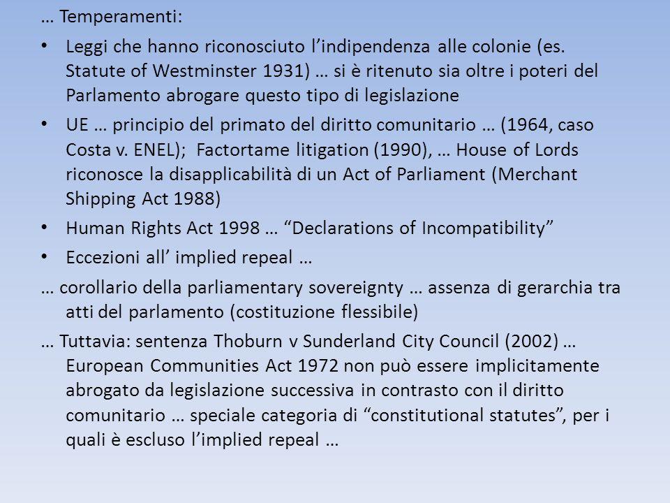 … Temperamenti: Leggi che hanno riconosciuto lindipendenza alle colonie (es. Statute of Westminster 1931) … si è ritenuto sia oltre i poteri del Parla