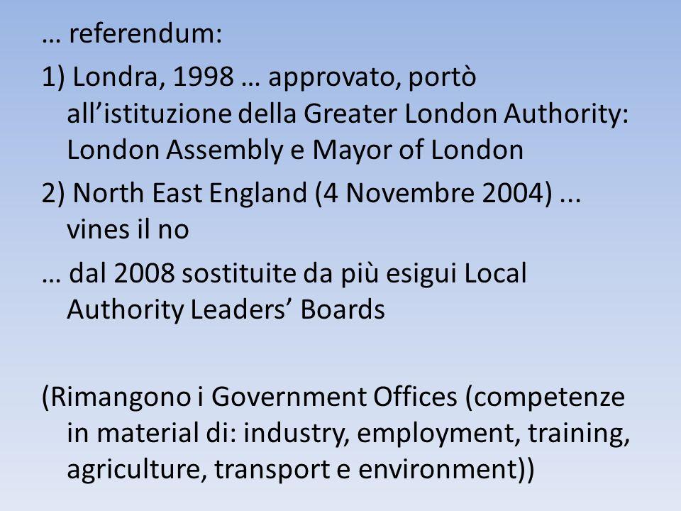 … referendum: 1) Londra, 1998 … approvato, portò allistituzione della Greater London Authority: London Assembly e Mayor of London 2) North East Englan