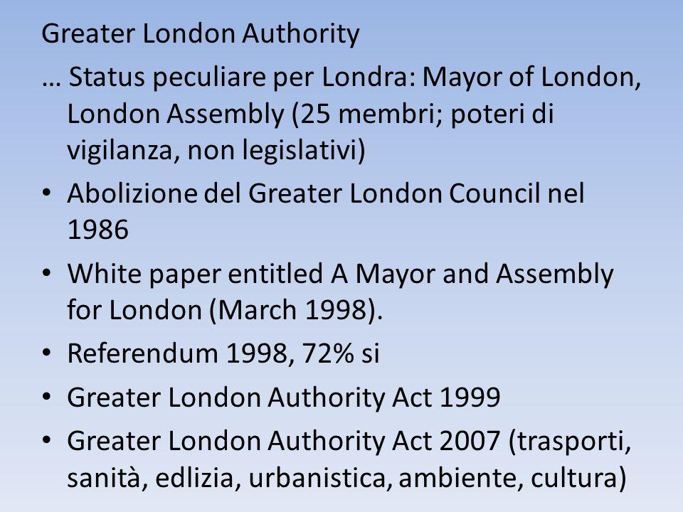 Greater London Authority … Status peculiare per Londra: Mayor of London, London Assembly (25 membri; poteri di vigilanza, non legislativi) Abolizione