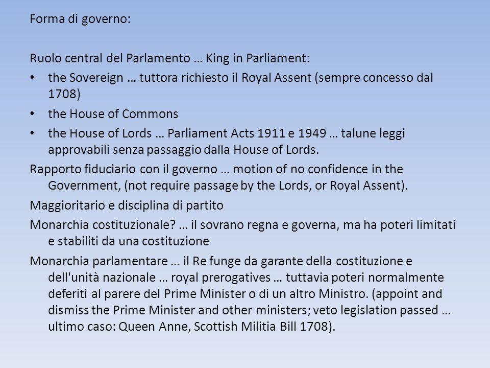 Forma di governo: Ruolo central del Parlamento … King in Parliament: the Sovereign … tuttora richiesto il Royal Assent (sempre concesso dal 1708) the