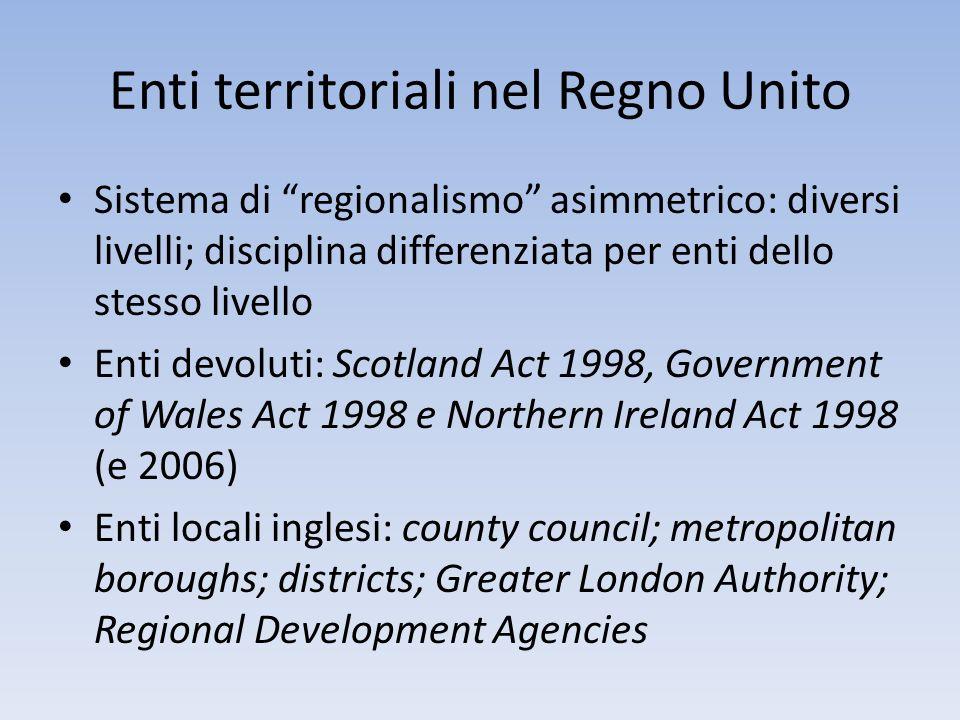 Enti territoriali nel Regno Unito Sistema di regionalismo asimmetrico: diversi livelli; disciplina differenziata per enti dello stesso livello Enti de