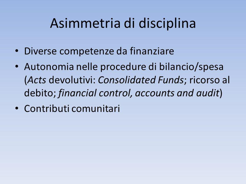 Asimmetria di disciplina Diverse competenze da finanziare Autonomia nelle procedure di bilancio/spesa (Acts devolutivi: Consolidated Funds; ricorso al