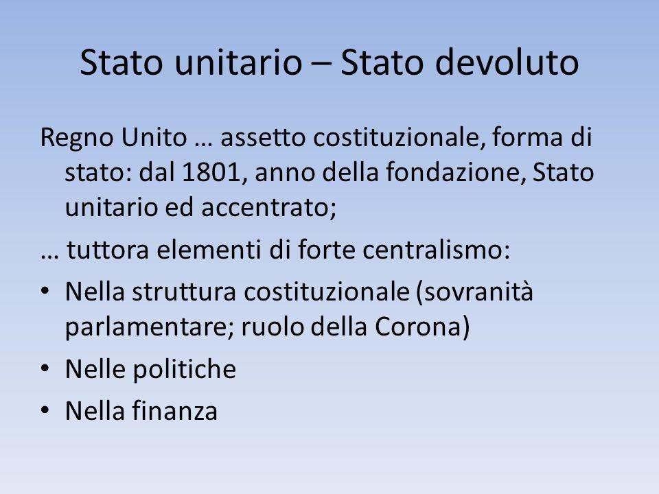 Stato unitario – Stato devoluto Regno Unito … assetto costituzionale, forma di stato: dal 1801, anno della fondazione, Stato unitario ed accentrato; …