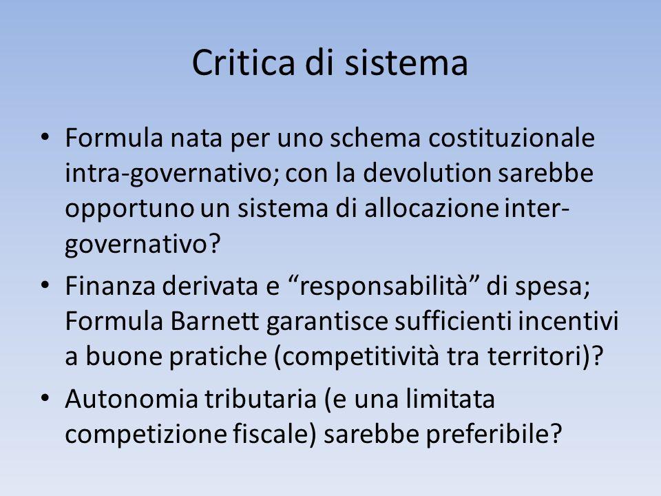 Critica di sistema Formula nata per uno schema costituzionale intra-governativo; con la devolution sarebbe opportuno un sistema di allocazione inter-