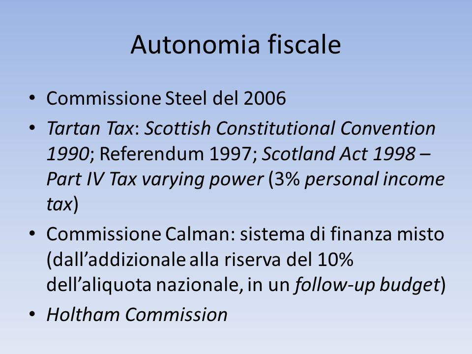 Autonomia fiscale Commissione Steel del 2006 Tartan Tax: Scottish Constitutional Convention 1990; Referendum 1997; Scotland Act 1998 – Part IV Tax var