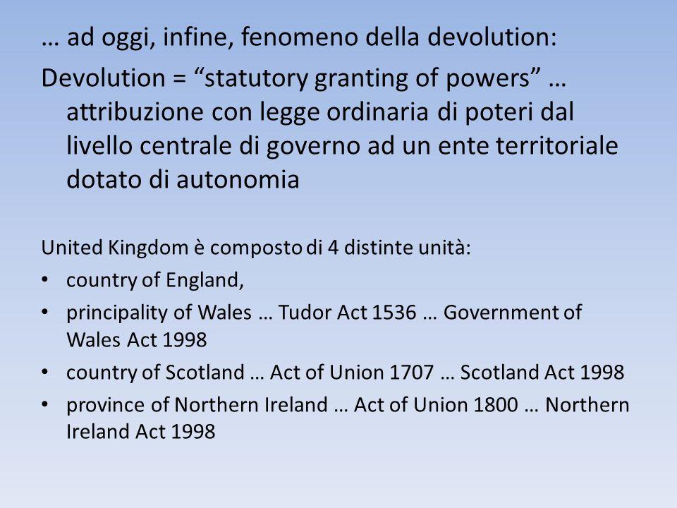 … ad oggi, infine, fenomeno della devolution: Devolution = statutory granting of powers … attribuzione con legge ordinaria di poteri dal livello centr