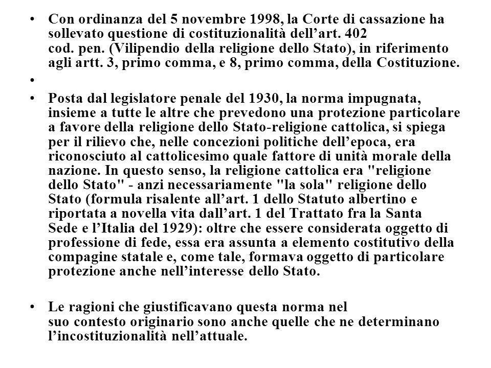 Con ordinanza del 5 novembre 1998, la Corte di cassazione ha sollevato questione di costituzionalità dellart. 402 cod. pen. (Vilipendio della religion