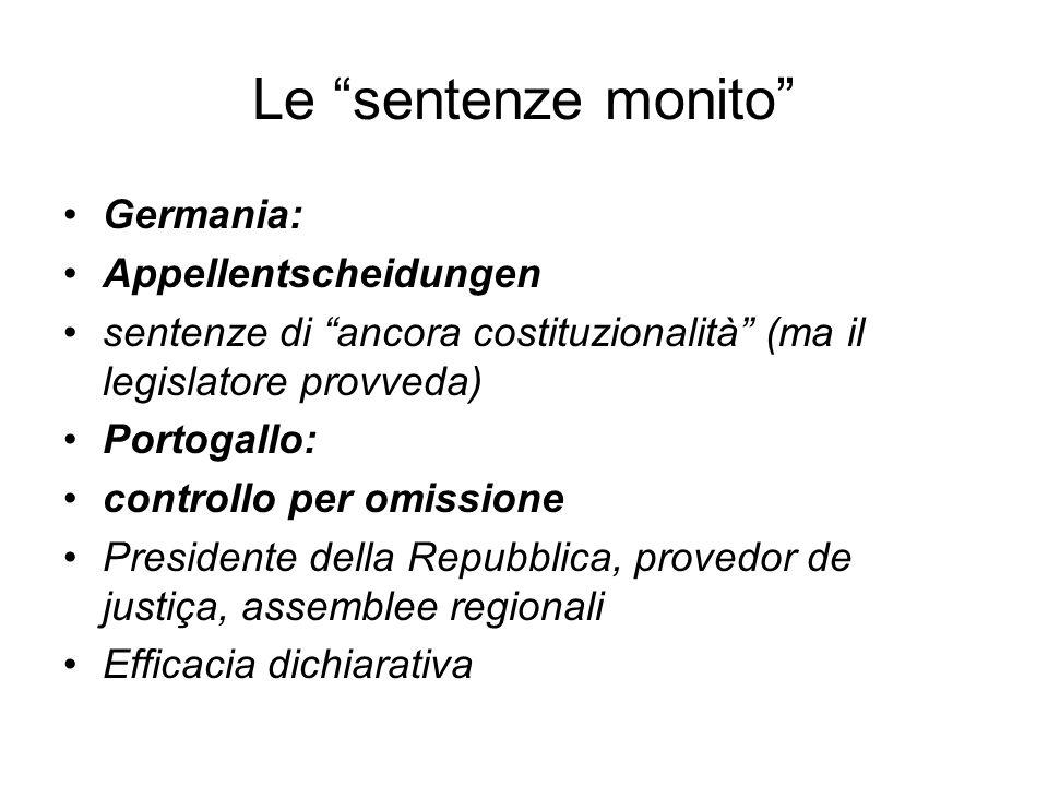 Ordinamento italiano La Corte costituzionale può modulare lefficacia temporale delle sue sentenze.