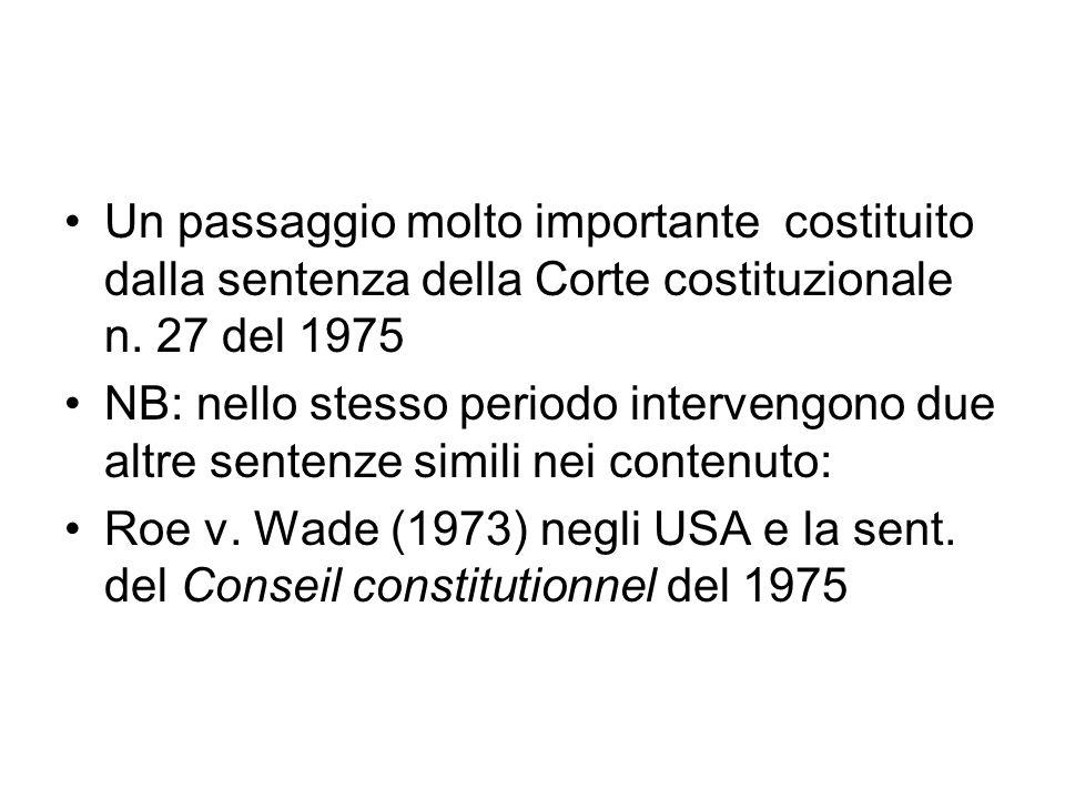 Un passaggio molto importante costituito dalla sentenza della Corte costituzionale n. 27 del 1975 NB: nello stesso periodo intervengono due altre sent