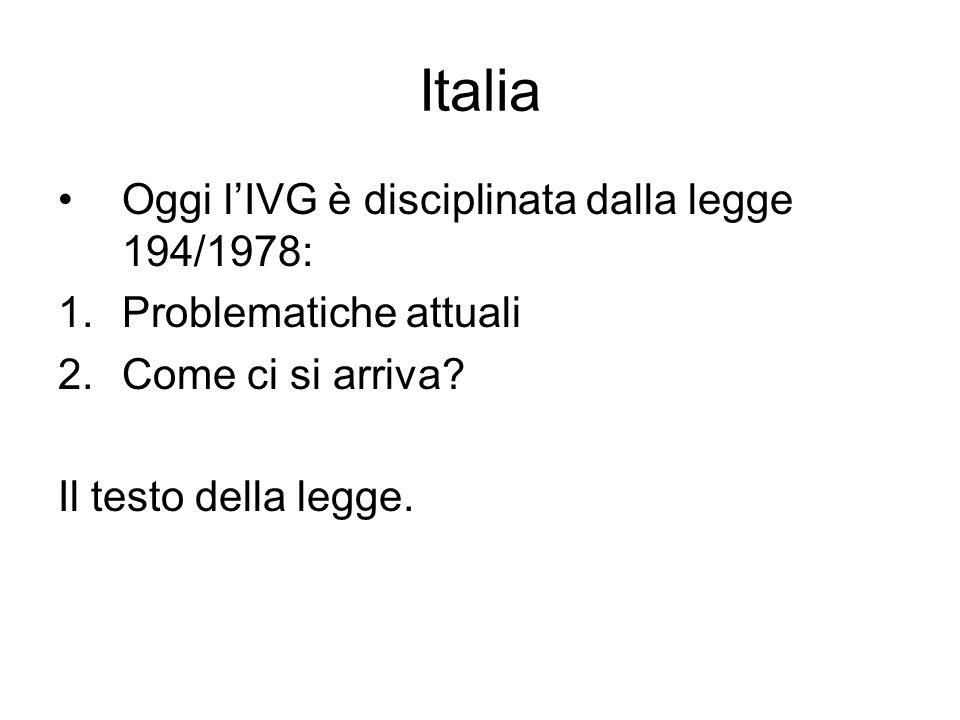 Italia Oggi lIVG è disciplinata dalla legge 194/1978: 1.Problematiche attuali 2.Come ci si arriva? Il testo della legge.