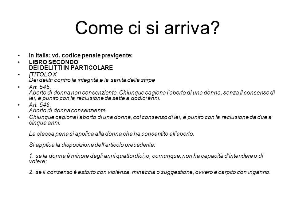 Come ci si arriva? In Italia: vd. codice penale previgente: LIBRO SECONDO DEI DELITTI IN PARTICOLARE [TITOLO X Dei delitti contro la integrità e la sa