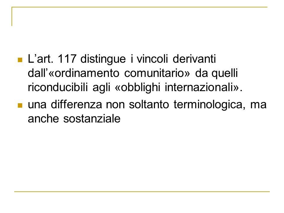 Lart. 117 distingue i vincoli derivanti dall«ordinamento comunitario» da quelli riconducibili agli «obblighi internazionali». una differenza non solta