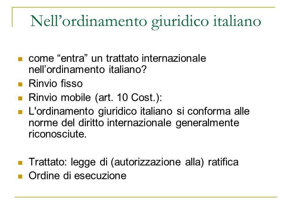 Nellordinamento giuridico italiano come entra un trattato internazionale nellordinamento italiano? Rinvio fisso Rinvio mobile (art. 10 Cost.): L'ordin