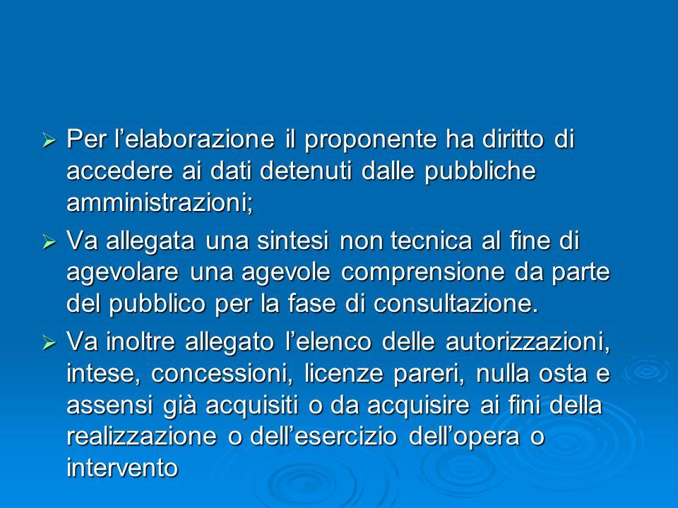 Per lelaborazione il proponente ha diritto di accedere ai dati detenuti dalle pubbliche amministrazioni; Per lelaborazione il proponente ha diritto di