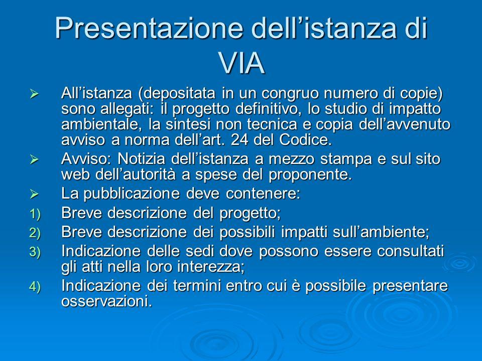 Presentazione dellistanza di VIA Allistanza (depositata in un congruo numero di copie) sono allegati: il progetto definitivo, lo studio di impatto amb