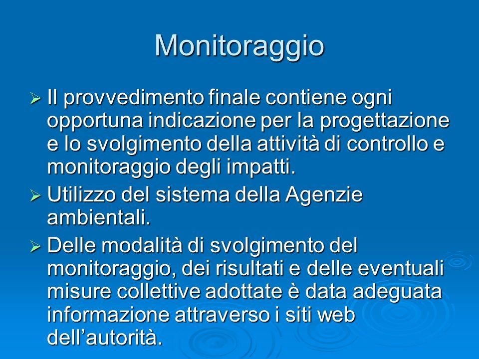 Monitoraggio Il provvedimento finale contiene ogni opportuna indicazione per la progettazione e lo svolgimento della attività di controllo e monitorag