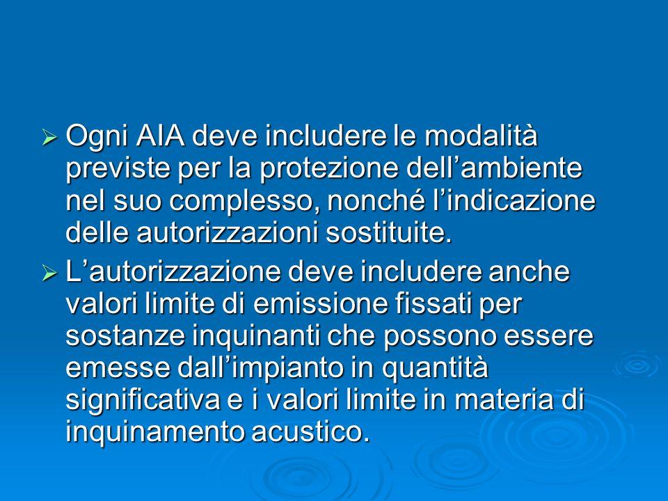 Ogni AIA deve includere le modalità previste per la protezione dellambiente nel suo complesso, nonché lindicazione delle autorizzazioni sostituite. Og