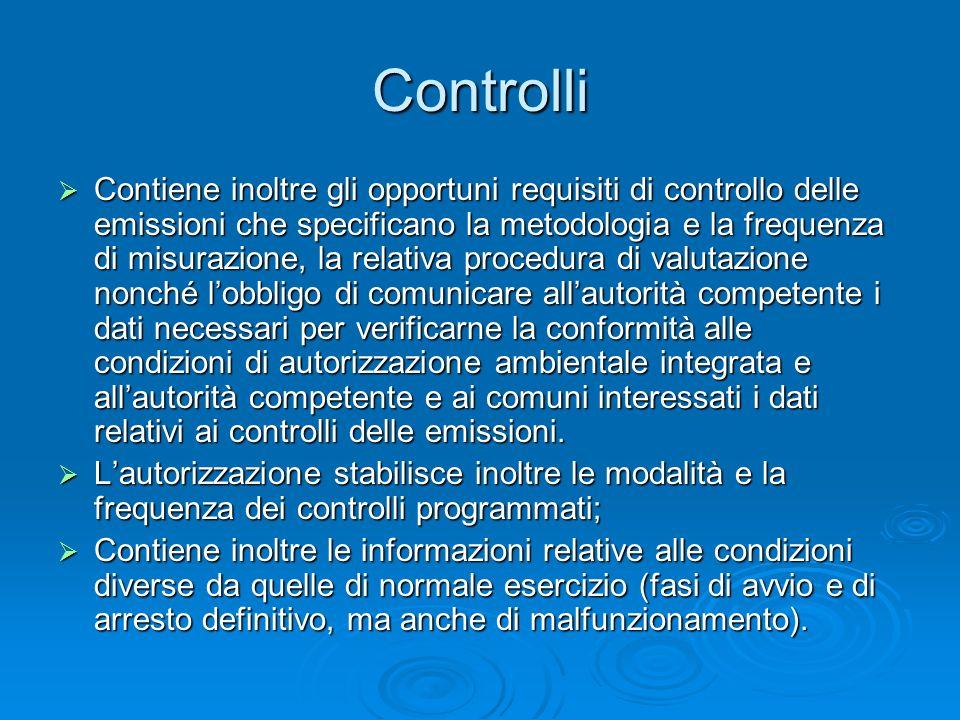 Controlli Contiene inoltre gli opportuni requisiti di controllo delle emissioni che specificano la metodologia e la frequenza di misurazione, la relat