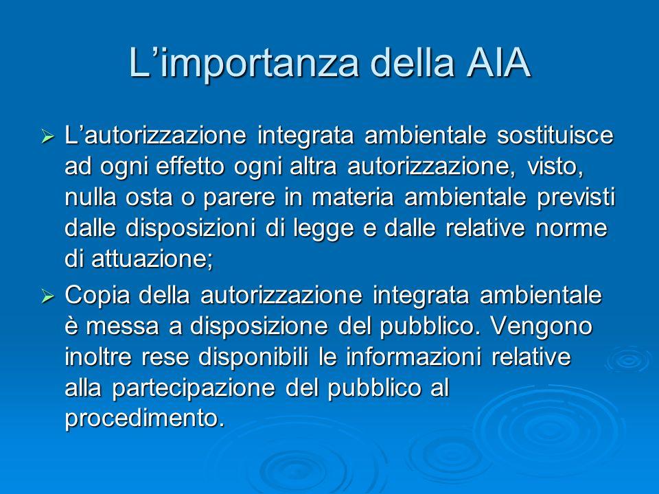 Limportanza della AIA Lautorizzazione integrata ambientale sostituisce ad ogni effetto ogni altra autorizzazione, visto, nulla osta o parere in materi