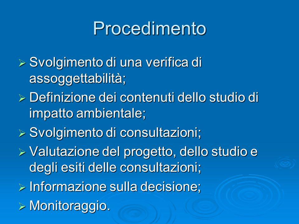 Procedimento Svolgimento di una verifica di assoggettabilità; Svolgimento di una verifica di assoggettabilità; Definizione dei contenuti dello studio