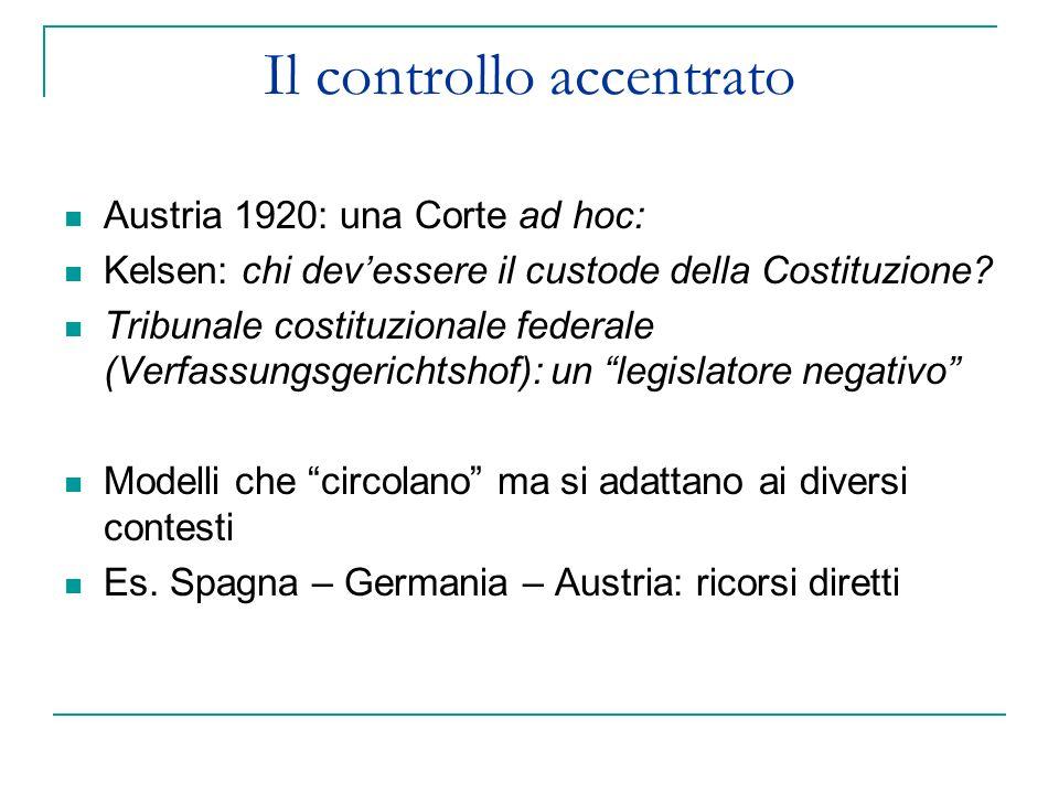 Il controllo accentrato Austria 1920: una Corte ad hoc: Kelsen: chi devessere il custode della Costituzione? Tribunale costituzionale federale (Verfas