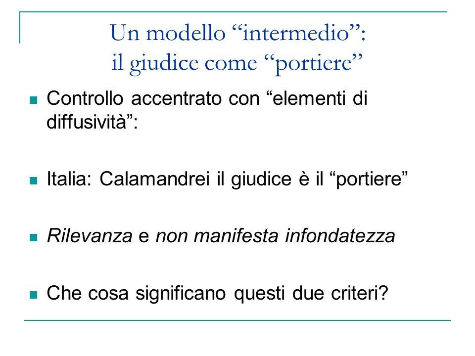 Un modello intermedio: il giudice come portiere Controllo accentrato con elementi di diffusività: Italia: Calamandrei il giudice è il portiere Rilevan