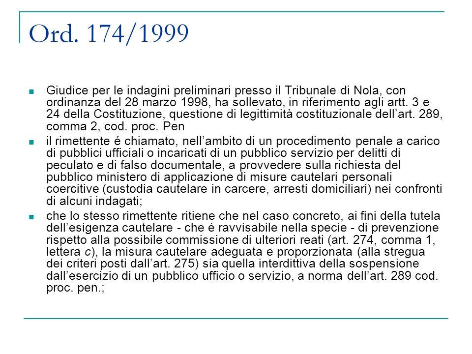 Ord. 174/1999 Giudice per le indagini preliminari presso il Tribunale di Nola, con ordinanza del 28 marzo 1998, ha sollevato, in riferimento agli artt