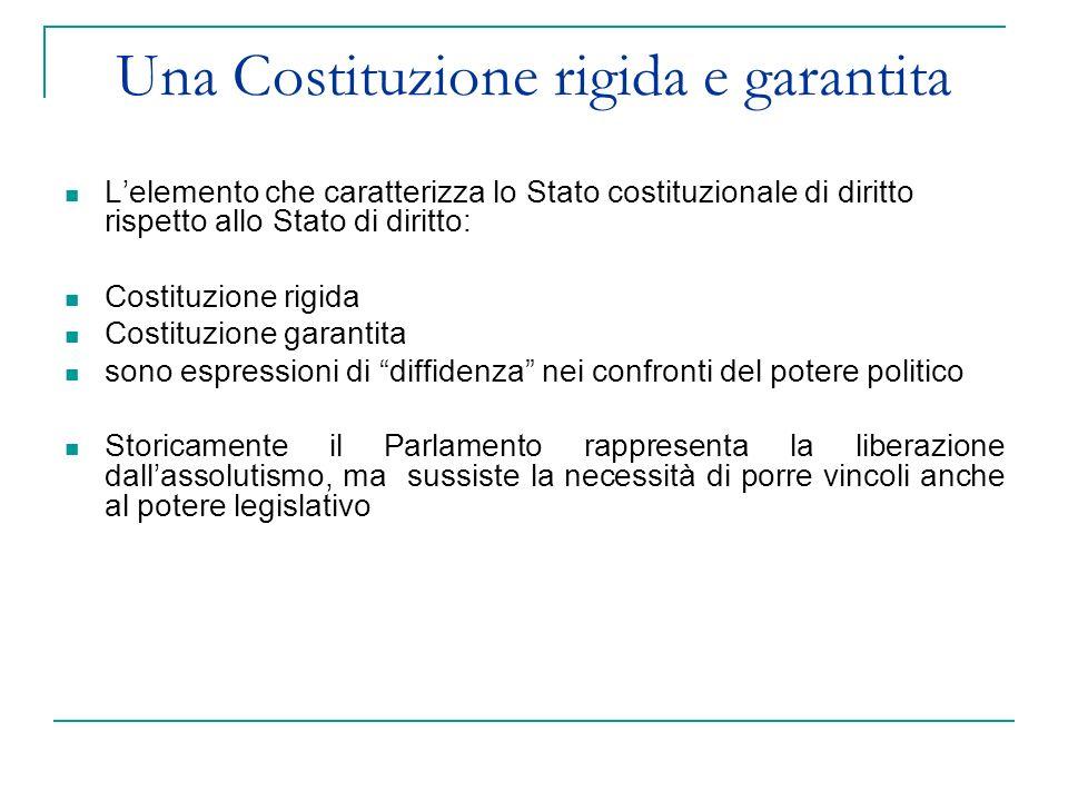 Lelemento che caratterizza lo Stato costituzionale di diritto rispetto allo Stato di diritto: Costituzione rigida Costituzione garantita sono espressi