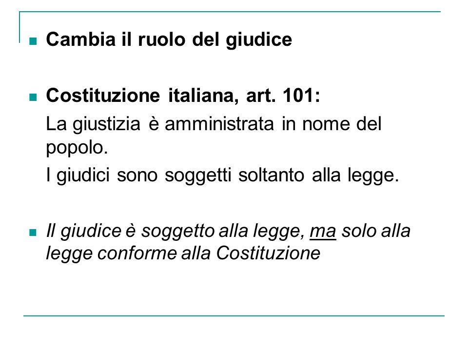 Cambia il ruolo del giudice Costituzione italiana, art. 101: La giustizia è amministrata in nome del popolo. I giudici sono soggetti soltanto alla leg