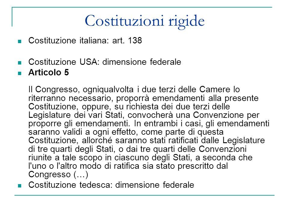Costituzioni rigide Costituzione italiana: art. 138 Costituzione USA: dimensione federale Articolo 5 Il Congresso, ogniqualvolta i due terzi delle Cam