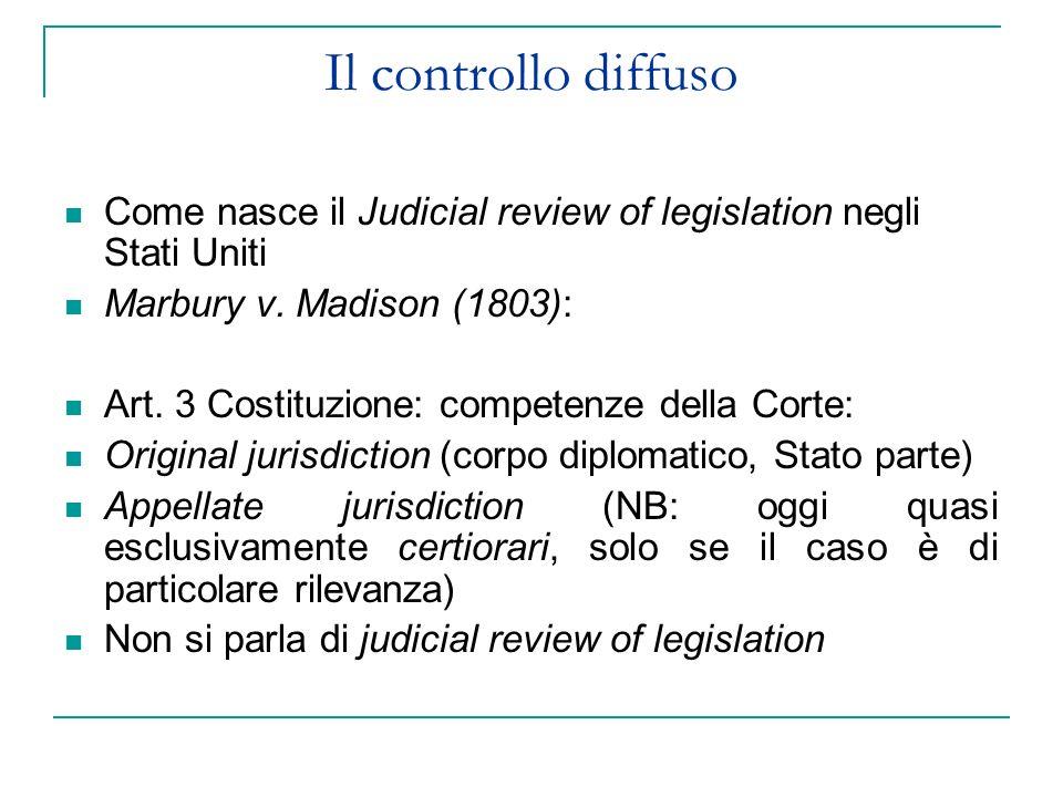 Il controllo diffuso Come nasce il Judicial review of legislation negli Stati Uniti Marbury v. Madison (1803): Art. 3 Costituzione: competenze della C