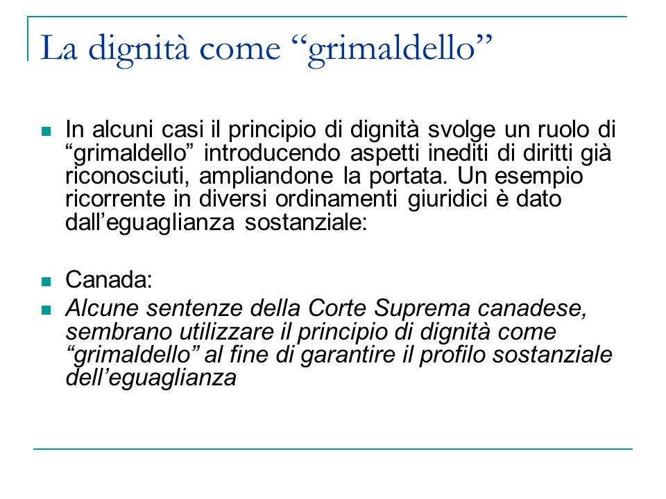 La dignità come grimaldello In alcuni casi il principio di dignità svolge un ruolo di grimaldello introducendo aspetti inediti di diritti già riconosciuti, ampliandone la portata.
