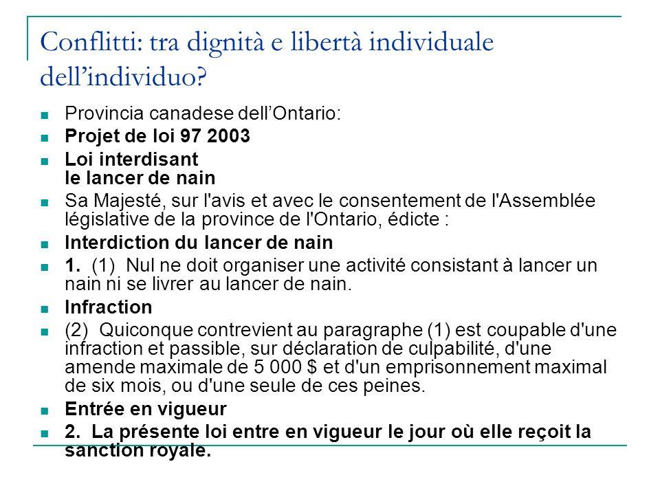 Conflitti: tra dignità e libertà individuale dellindividuo? Provincia canadese dellOntario: Projet de loi 97 2003 Loi interdisant le lancer de nain Sa