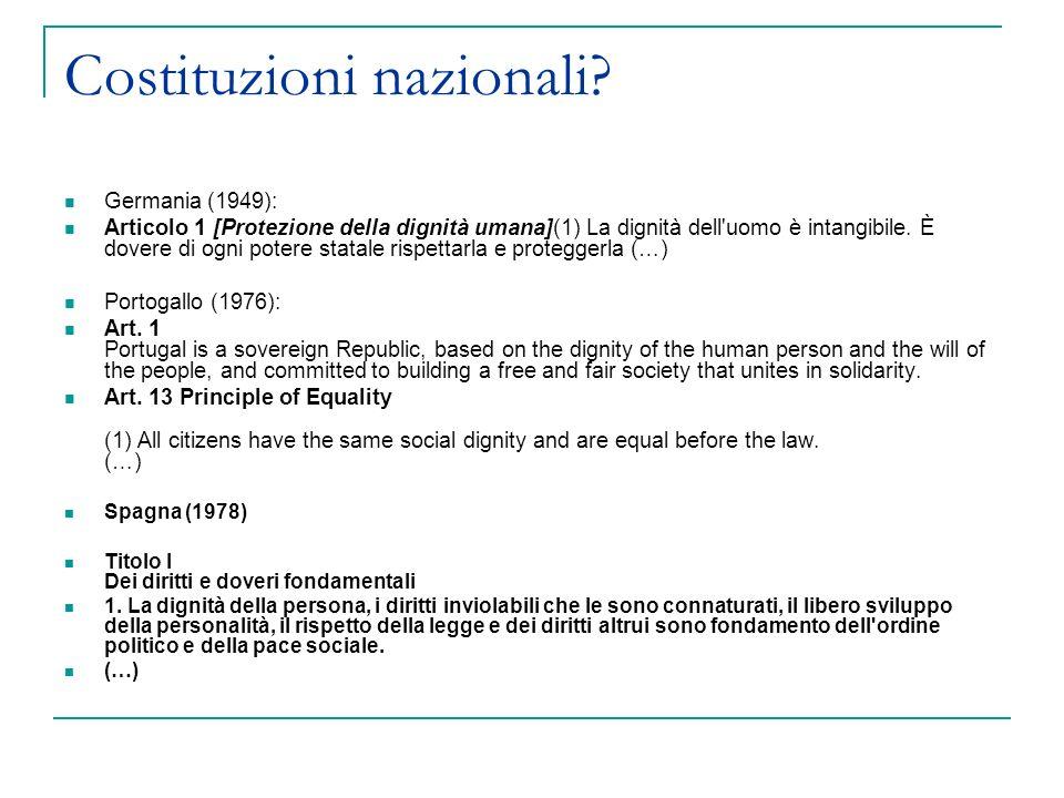 Costituzioni nazionali? Germania (1949): Articolo 1 [Protezione della dignità umana](1) La dignità dell'uomo è intangibile. È dovere di ogni potere st