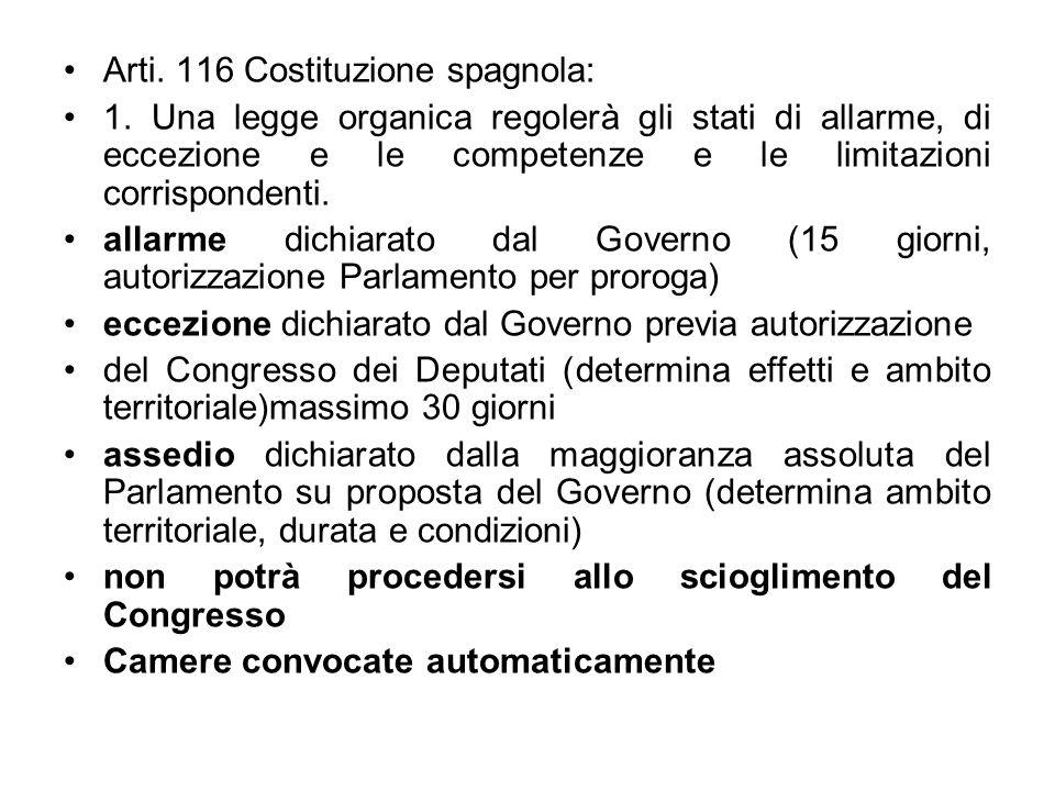 Arti. 116 Costituzione spagnola: 1. Una legge organica regolerà gli stati di allarme, di eccezione e le competenze e le limitazioni corrispondenti. al