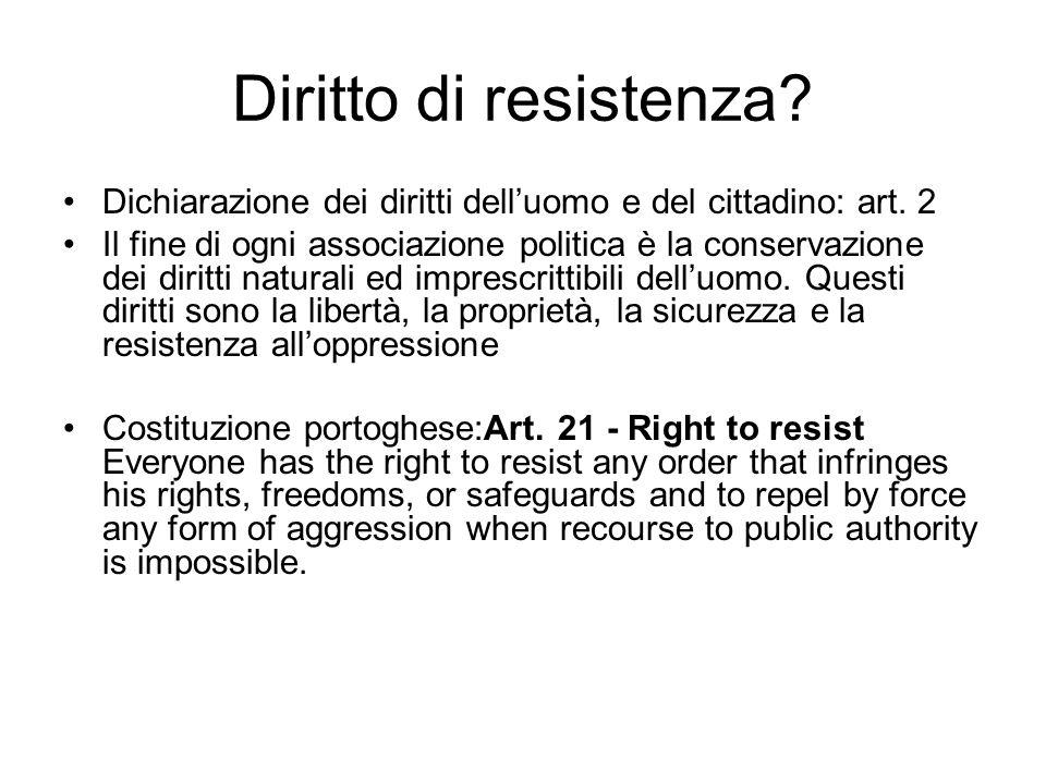Diritto di resistenza? Dichiarazione dei diritti delluomo e del cittadino: art. 2 Il fine di ogni associazione politica è la conservazione dei diritti
