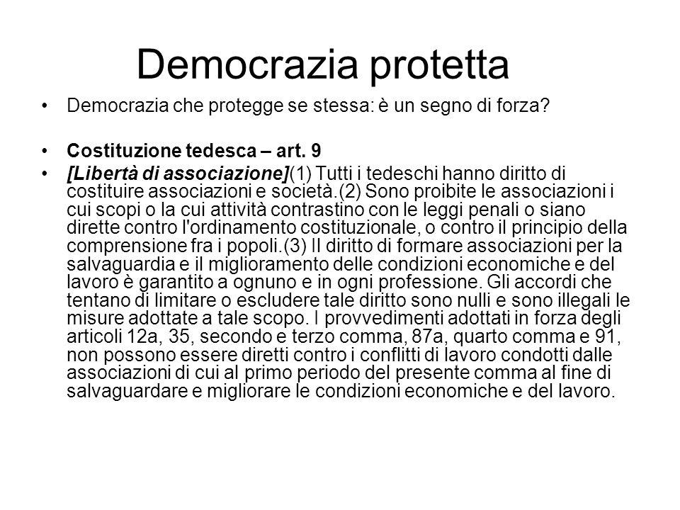 Democrazia protetta Democrazia che protegge se stessa: è un segno di forza? Costituzione tedesca – art. 9 [Libertà di associazione](1) Tutti i tedesch