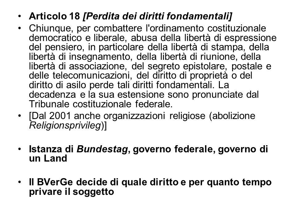 Articolo 18 [Perdita dei diritti fondamentali] Chiunque, per combattere l'ordinamento costituzionale democratico e liberale, abusa della libertà di es