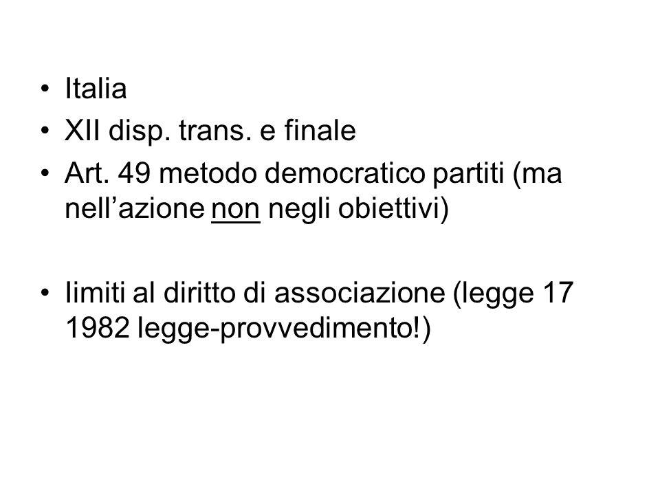 Italia XII disp. trans. e finale Art. 49 metodo democratico partiti (ma nellazione non negli obiettivi) Iimiti al diritto di associazione (legge 17 19