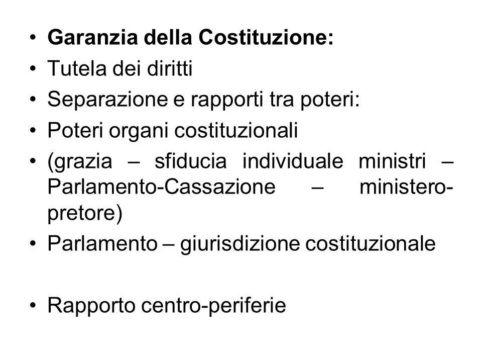 Garanzia della Costituzione: Tutela dei diritti Separazione e rapporti tra poteri: Poteri organi costituzionali (grazia – sfiducia individuale ministr
