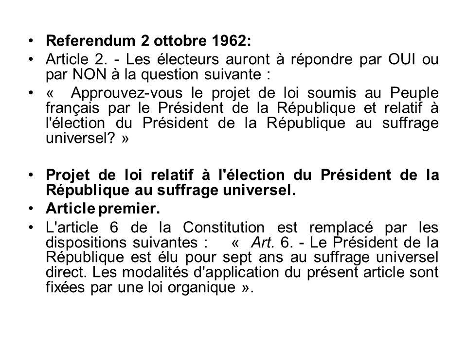 Referendum 2 ottobre 1962: Article 2. - Les électeurs auront à répondre par OUI ou par NON à la question suivante : « Approuvez-vous le projet de loi